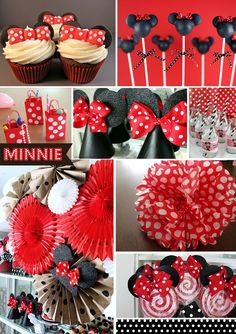 Blog Version Minnie Mouse Party Ideas  Polka dot Pom Pom and pic of pink bottle wraps with red wAll drop