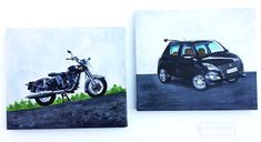 Handmade with Love: Acrylic Paintings on Canvas - Maruti Swift and Royal Enfield !