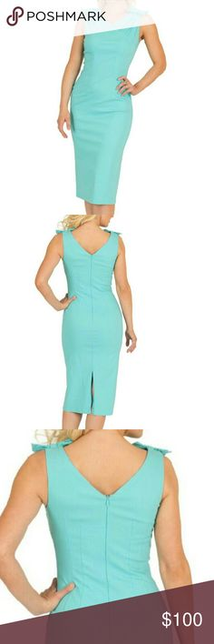 By Tatyana, Alice Mint dress Fitted comfortable retro pencil wiggle dress! Features bow accents on both shoulders for that nice 1950's touch! ;) hugs your curves at the right places. Has four way stretch with begaline fabric. It is lined at the front and back to form that desired silhouette. Has a easy back zipper closure for easy access. :) can wear it casual or formal. It is 50%rayon, 50%nylon lining and 100% polyester. Tatyana Dresses