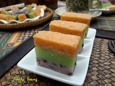Aunty Young(安迪漾): 黑糯米三色糕(Tri Color Black Glutinous Rice Cake)