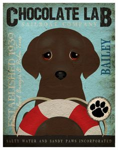 Chocolate Lab Sailing Company Original Art Print - 11x14- Customize with Your Dog's Name - Father's Day gift Idea. $29.00, via Etsy.