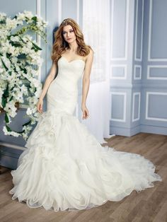Moonlight Collection J6434 jaw-dropping organza mermaid gown with 3D layered drop waist skirt