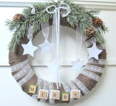 Burlap Wrapped Rustic Christmas Wreath