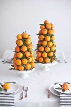 DIY mandarin tower centerpieces