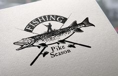 Vintage pike fishing emblems, labels by Moloko88 on Creative Market