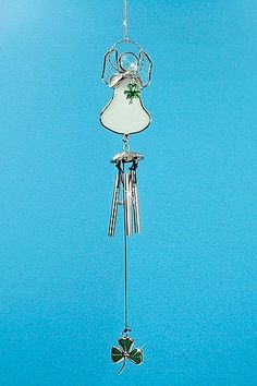 "Irish Angel Suncatcher Wind Chime Stained Glass with Shamrock and Chimes by Banberry Designs. $8.99. Mini Irish Angel Wind chime Stained glass angel with shamrock.  Small metal chimes make a soft sound. Great decoration year round; from St. Patrick's Day to Christmas!  10"" x 1.75"""