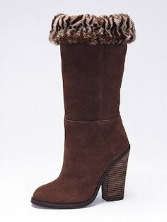 Luxe meets street-smart in the Colin Stuart Sherpa-cuff Suede Boot from Victoria's Secret. A faux-fur sherpa cuff adds a touch of warmth and elegance to this runway-inspired boot. The slightly scrunched shaft adds of-the-moment appeal.