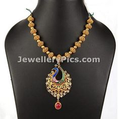 Beautiful Peacock pendant Antique Gundla mala - Latest Jewellery Designs