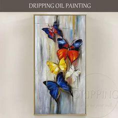 Pinturas al óleo de mariposas abstractas pintadas a mano de tamaño largo en lienzo pequeñas pinturas al óleo de mariposas abstractas de insectos pequeños hechas a mano