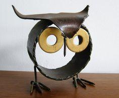 Vintage 60s Brutalist Wrought Iron Owl Metal by SanDiegoVintage, $82.00