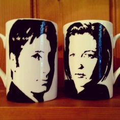 Hand Painted Mulder and Scully cup set by bycandlelight27 on Etsy, £12.00