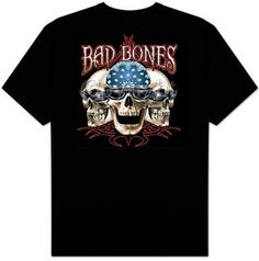 Skull T-shirt - Bad Bones Biker Tee Biker T-shirts heavyweight cotton skull biker T-shirt Image Size: 11 X 12 Available in Small, Medium, Large, Bad Bones, Biker Wear, Bad To The Bone, T Shirt Image, Biker T Shirts, Cool Shirts, Tees, Skulls, Mens Tops