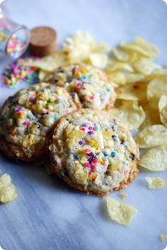 Goobed-Up Potato Chip Cookies with sprinkles and mini chocolate chips mixed in, Yum!