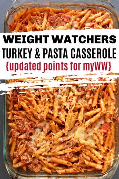 WW Turkey & Pasta Casserole Weight Watchers Baked Turkey and Pasta Casserole is a healthy, filling dinner recipe. Points are figured for all 3 myWW plans and it is low point! This is also a great recipe for using leftover turkey. Weight Watchers Pasta, Weight Watcher Dinners, Plan Weight Watchers, Poulet Weight Watchers, Weight Watchers Casserole, Weight Watchers Recipes With Sausage, Weight Watchers Breakfast, Weight Watchers Desserts, Healthy Pastas