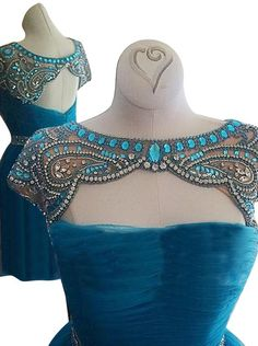 Awesome Bateau Cap Sleeves Short Sky Blue Homecoming Dress with Beading: