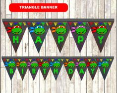 Ninja Turtles Chalkboard Triangle Banner, printable Ninja Turtles Banner, Chalkboard Ninja Turtles triangle Banner - Instant download