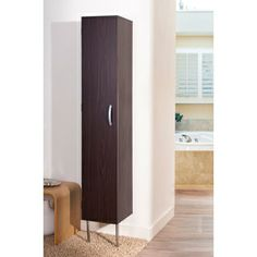 @Overstock - Sleek with bold contemporary style, this Zarina walnut tower cabinet is a versatile accent for any room. It offers six great enclosed shelves for optional storage, a secure wall mounted feature and two metal legs.http://www.overstock.com/Home-Garden/Zarina-Walnut-6-shelf-Wall-mounted-Bathroom-Tower-Cabinet/7655666/product.html?CID=214117 $189.99
