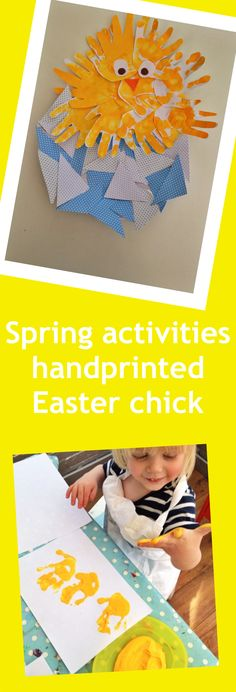 handprint Easter chick, spring activities for kids, Easter craft for kids, cool stuff for kids from daisies and pie