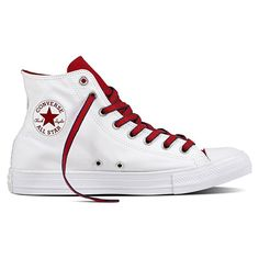 Converse Chuck Taylor All Star High Top Sneaker - White/Gym Red/Navy Sneakers Converse All Star, Converse Chuck Taylor All Star, Vans Boots, Converse Shoes, Converse High, Elvis Presley, Jouer Au Basket, Custom Chuck Taylors, Baskets