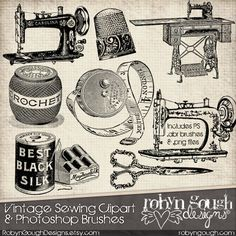 Vintage Sewing Clipart & Photoshop Brushes by Robyn Gough on Etsy