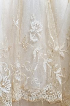 Lace Wedding dress - detail - June 15, 1928 - Sandy Springs, SC - by Hattie Pickett Milam - Cream silk chiffon with lace yoke and lace ruffles around the skirt and overskirt.