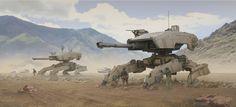 Desert Mechs, Ken Le Bras on ArtStation at https://www.artstation.com/artwork/o63qm