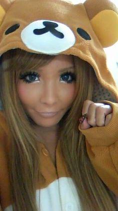 Cute tan Gyaru wearing a Kigurumi! :3