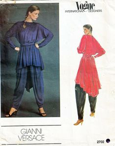 Vogue International Designers 2702 c1983 Versace Misses Tunic Sash Pants Sz 14 #Vogue #Vogue Vogue Sewing Patterns, Sash, Versace, Designers, Tunic, Pants, Trouser Pants, Band, Tunics