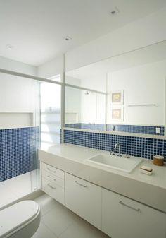 banheiro/ pastilha/ azul/ nicho