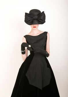 1950's Suzy Perette corded silk and velvet 'Princess Line' dress