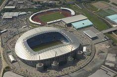 (Soccer) Etihad Stadium/City of Manchester Stadium - home of Manchester City, from above Man City Stadium, Soccer Stadium, Football Stadiums, City Of Manchester Stadium, Manchester Uk, Premier League Scores, Camp Nou, Swansea, European Football