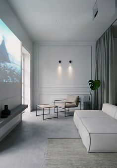 Minimalistic apartment by Ira Kulyk Eclectic apartment design, small apartment design, bedroom with curtain divider Minimalist Apartment, Minimalist Interior, Minimalist Living, Modern Interior Design, Interior Architecture, Master Bedroom Minimalist, Modern Classic Interior, Garden Architecture, Bedroom Black