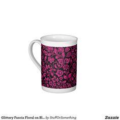 Glittery Fuscia Floral on Black Tea Cup