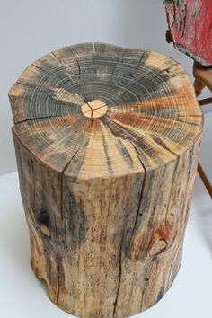 Tree Stump Table Stool Seat Trunk Reclaimed by realwoodworks1, $389.00 Want to do this and have the boys carve their names in it:)