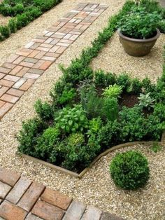 Small Garden Landscaping herb garden contained by pretty gravel and brick border/path.Small Garden Landscaping herb garden contained by pretty gravel and brick border/path Garden Borders, Garden Paths, Garden Beds, Rocks Garden, Garden Pool, Back Gardens, Outdoor Gardens, Veggie Gardens, Vegetable Garden