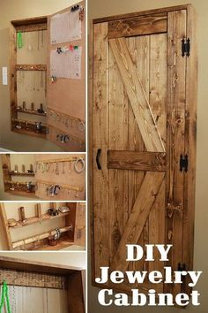 The Ultimate DIY Rustic Jewelry Cabinet - Attractive with lots of storage. Diy Jewelry Cabinet, Jewellery Storage, Jewellery Display, Jewelry Drawer, Diy Jewelry Armoire Plans, Necklace Storage, Necklace Display, Diy Jewellery, Wall Organization