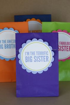 big brother/big sister printable gift tags to use for baby gifts for the older siblings.