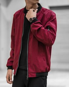 This regular-fit bomber jacket is made of water-resistant elastic cotton blend fabric. Has Mandarin collar and zipper closure. Perfect plain-colored bomber for every hypebeast to rock. Buy Clothes Online, Mandarin Collar, Hypebeast, Size Clothing, Mists, Streetwear, Windbreaker, Bomber Jacket, Leather Jacket