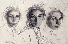 "Zinaida Serebriakova (1884 - 1967) ""3 Self Portraits"" 1914"
