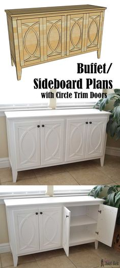 Free Woodworking Plans DIY Buffet or Sideboard with circle trim doors. This buffet cabinet boasts plenty of dining/kitchen supply storage. Buffet Woodworking Plans, Buffet Cabinet, Diy Furniture Plans, Home, Furniture Plans, Sideboard Furniture Plans, Easy Woodworking Projects, Woodworking Furniture, Woodworking Plans Free