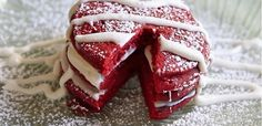 Red Velvet Pancakes.... if you can't wait until dinner for a festive Valentine's Day treat! #valentinesday #romanticrecipes