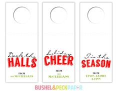 Personalize that Holiday CHEER!      • SPECIFICATIONS •    QUANTITY: 18 wine tags  PAPER: 80 lb premium, smooth, glossy white  SIZE: approx.
