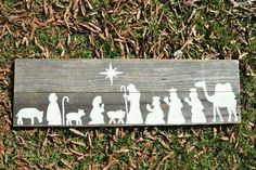 Nativity silhouettes on a board