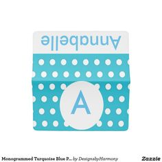 Monogrammed Turquoise Blue Polka Dots Checkbook Cover