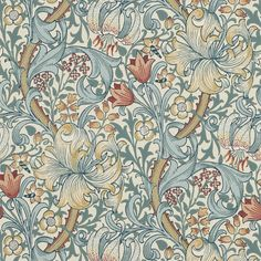Golden Lily Wallpaper - Slate/Manilla - William Morris & Co Archive Wallpapers Collection William Morris Wallpaper, William Morris Art, Morris Wallpapers, Lily Wallpaper, Wallpaper Direct, Fabric Wallpaper, Pattern Wallpaper, Wallpaper Backgrounds, Green Wallpaper
