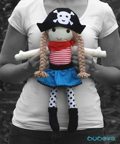 Pirate Girl Fabric Doll With Removable Hat and Skirt by buboxa Fabric Dolls, Pirates, How To Remove, Textiles, Skirt, Trending Outfits, Unique Jewelry, Hats, Handmade Gifts