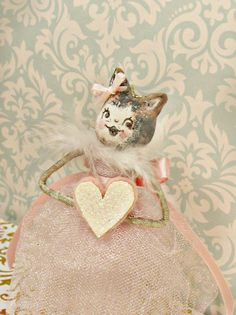 Valentine ornament vintage inspired kitten doll ooak art doll toni Kelly original paperclay cat retro kitty Valentine shabby valentine cat by sugarcookiedolls on Etsy