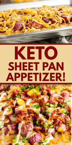 This EASY keto appetizer recipe is sooo good!! It's a keto sheet pan recipe that is ridiculously easy to make and will be loved by everyone, even those who aren't on the keto diet or a low carb diet. It has it all: Cheese, bacon, keto ranch dressing, roasted radishes, and more. Just like a keto loaded potato but without the potato! Serve this easy keto recipe with your next low carb dinner. Low Carb Appetizers, Low Carb Dinner Recipes, Appetizer Recipes, Diet Recipes, Healthy Recipes, Keto Dinner, Healthy Meals, Recipies, Pan Recipe