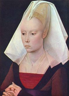 """Workshop of Rogier van der Weyden, Portrait of a young woman of the Burgundian gentry wearing a """"beehive"""" or perhaps truncated cone hennin, 1460s. Part of the veil comes forward to cover the eyebrows."""