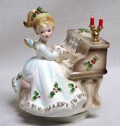 Vintage Josef Originals Music Box Christmas Angel & Piano Plays Silent Night | eBay